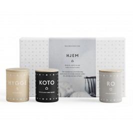Set mini svíček HJEM (domov) 3x55 g, béžová barva, šedá barva, bílá barva, sklo, papír
