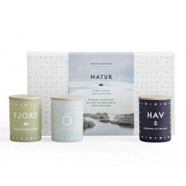 Set mini svíček NATUR 3x55 g, modrá barva, zelená barva, šedá barva, bílá barva, sklo, papír