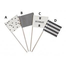 Dekorativní praporky Hurray Varianta A, černá barva, bílá barva, dřevo, textil