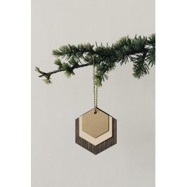 Dřevěná ozdoba Hexagon, hnědá barva, dřevo