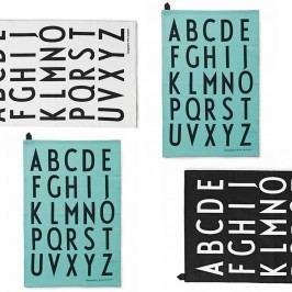 Kuchyňská utěrka Letters Bílá, modrá barva, černá barva, bílá barva, textil