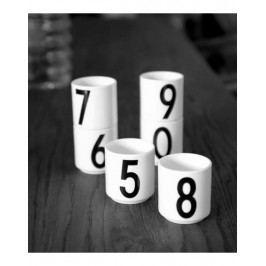 Espresso hrneček Letters - Number Nr.0, bílá barva, porcelán