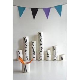 Dětský melaminový hrneček Letters A, černá barva, bílá barva, melamin