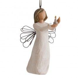 Anděl naděje - závěsný, béžová barva, bílá barva, pryskyřice