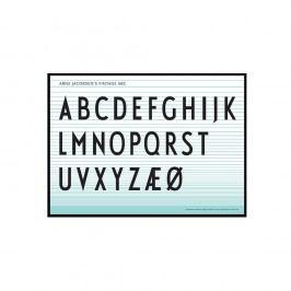 Plakát Letters 50x70, modrá barva, papír