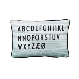 Polštář Letters white/turquoise, modrá barva, černá barva, textil
