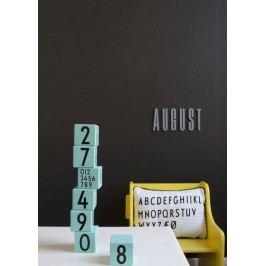 Dřevěné kostky Design Letters Pink, růžová barva, modrá barva, dřevo