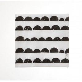 Papírové ubrousky Half Moon - black, černá barva, bílá barva, papír