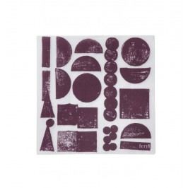 Papírové ubrousky Aubergine Stamp, fialová barva, bílá barva, papír
