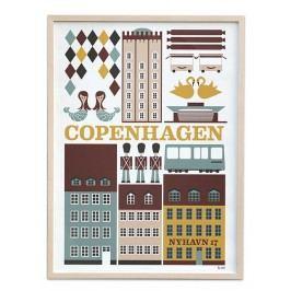 Plakát Copenhagen 30x42, multi barva, papír