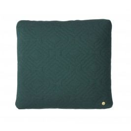 Prošívaný polštář Dark green 45x45 cm, zelená barva, textil