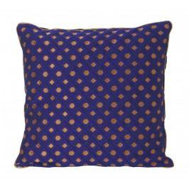 Péřový polštář Salon Cushion 40x40 cm, modrá barva, měděná barva, textil