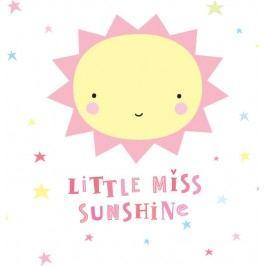 Nástěnná samolepka Miss Sunshine, růžová barva, žlutá barva, plast