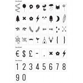 Set symbolů a číslic pro Lightbox Numbers&Symbols, černá barva, plast