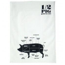 Utěrka Pig 50x70 cm, černá barva, textil