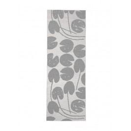 Plastový koberec Water Lilies Grey 70x200 cm, šedá barva, bílá barva, plast