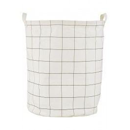 Plátěný koš na prádlo Squares, černá barva, textil