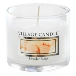 Mini svíčka Village Candle - Powder Fresh, bílá barva, sklo