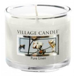 Mini svíčka Village Candle - Pure Linen, bílá barva, sklo