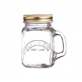 Mini sklenička s uchem a víčkem 140 ml, čirá barva, sklo