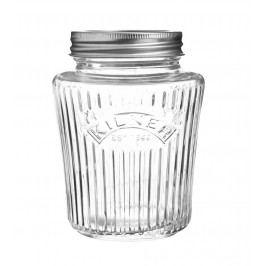 Vroubkovaná zavařovací sklenice 500 ml, čirá barva, sklo