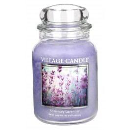 Svíčka ve skle Rosemary Lavender - velká, fialová barva, sklo