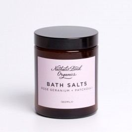 Koupelová sůl Rose Geranium + Patchouli 180 ml, růžová barva, hnědá barva, sklo, papír