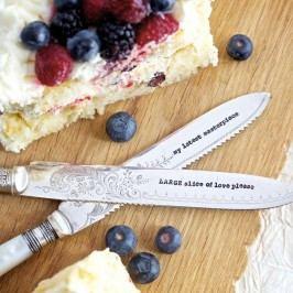 Postříbřený nůž na dort Slice Of Love, stříbrná barva, kov