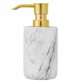 Dávkovač mýdla White Marble/Gold, šedá barva, zlatá barva, kov, mramor
