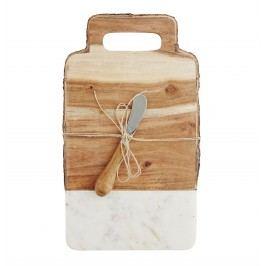 Krájecí prkénko s nožíkem Wood/marble, bílá barva, hnědá barva, přírodní barva, dřevo, mramor