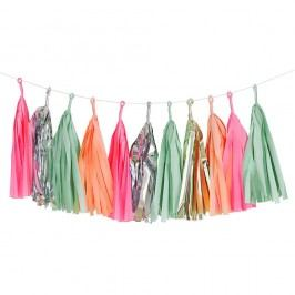 Papírová girlanda se střapci Malibu, růžová barva, zelená barva, multi barva, zlatá barva, papír