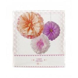 Dekorativní papírové pompony Blush Flower - set 3 ks, růžová barva