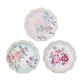 Papírové talířky Romantic - 12 ks, růžová barva, papír