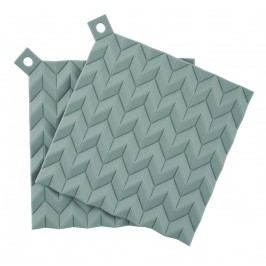 Silikonové chňapky Dusty green - 2 ks, zelená barva, plast