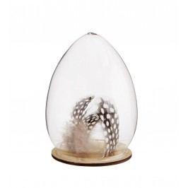 Dekorativní vajíčko na podstavci Speckled feather, hnědá barva, čirá barva, sklo