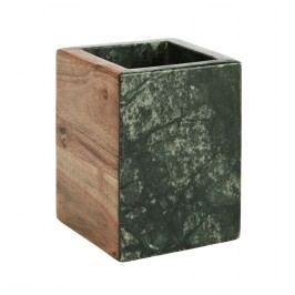 Mramorový kalíšek na kartáčky Green/wood, zelená barva, dřevo, mramor