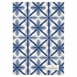 Bavlněná utěrka Lia blue, modrá barva, bílá barva, textil