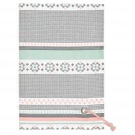 Bavlněná utěrka Nola white, růžová barva, zelená barva, černá barva, textil