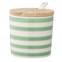 Keramická cukřenka Patrizia, zelená barva, béžová barva, dřevo, keramika