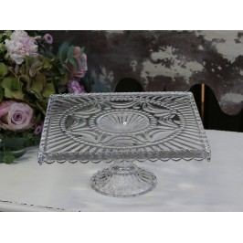 Hranatý dortový stojan Drop edge, čirá barva, sklo