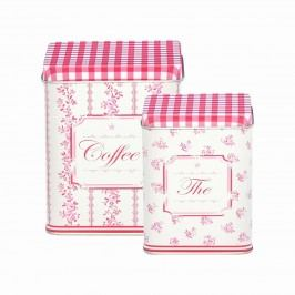 Plechové dózy Audrey raspberry - set 2 ks, růžová barva, kov