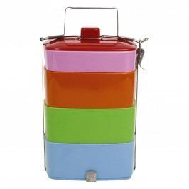 Čtyřpatrový melaminový jídlonosič Colors, růžová barva, modrá barva, zelená barva, oranžová barva, multi barva, melamin