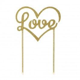 Dortová ozdoba Love Gold, zlatá barva, plast