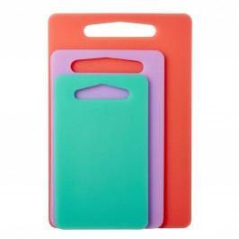 Plastová prkénka Coral - set 3 kusů, růžová barva, fialová barva, zelená barva, oranžová barva, plast