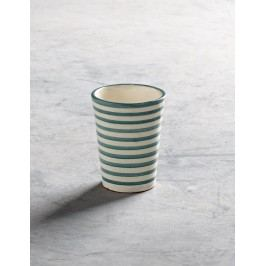Hrneček Aqua stripe Morocco, modrá barva, šedá barva, keramika