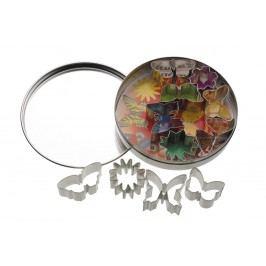 Vykrajovátka v dózičce - květiny a motýli - 11 ks, stříbrná barva, kov