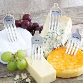 Postříbřené vidličky na sýr Cheese Markers, stříbrná barva, kov