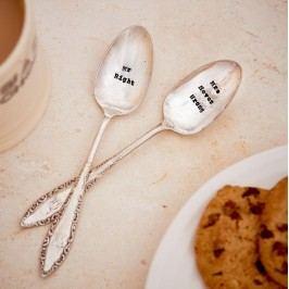 Postříbřený set čajových lžiček Mr Right & Mrs Never Wrong, stříbrná barva, kov