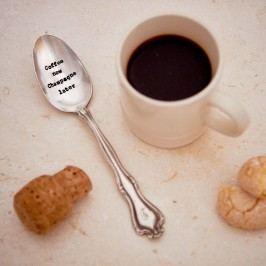 Postříbřená čajová lžička Coffee Now, Champagne Later, stříbrná barva, kov