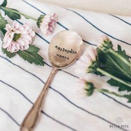 Postříbřená čajová lžička Najlepšia mamka, stříbrná barva, kov